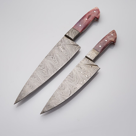 Camel Bone + Damascus Chef's Knives // Set Of 2