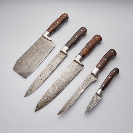 Rosewood + Stainless Steel Chef's Knives // Set Of 5