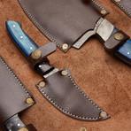 Blue Wood Sheet + Buffalo Horn Chef's Knives // Set Of 4