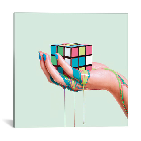 "Melting Rubik // Paul Fuentes (12""W x 12""H x 0.75""D)"