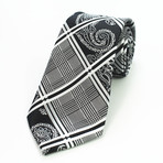 Silk Neck Tie // Black + White Paisley