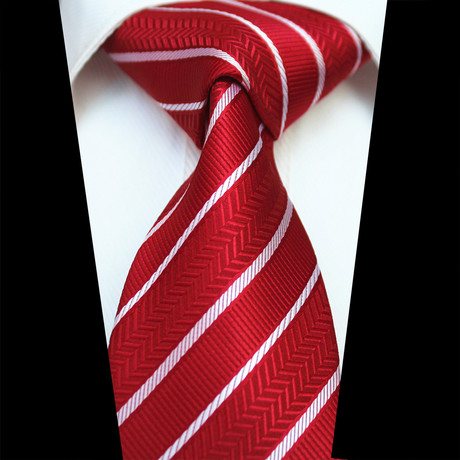 Silk Neck Tie // Red + White Stripe