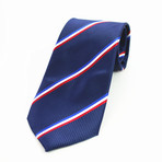 Silk Neck Tie + Gift Box // Blue + White + Red Stripe