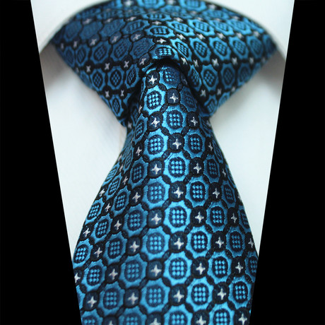 Silk Neck Tie // Blue Abstract Floral