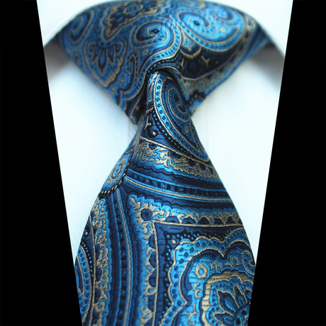 Silk Neck Tie // Metallic Blue Paisley