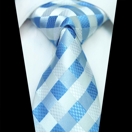 Silk Neck Tie // White + Blue Check