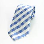 Silk Neck Tie // White + Blue Check