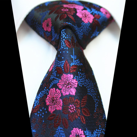 Silk Neck Tie // Metallic Blue + Pink Floral