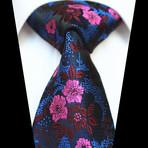 Silk Neck Tie // Metallic Blue + Pink Floral