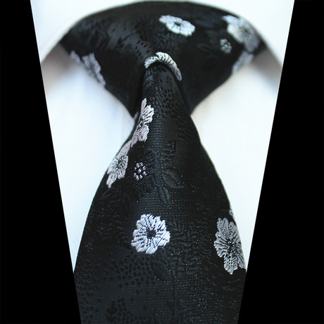 Silk Neck Tie // Black + White Floral