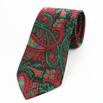 Silk Neck Tie + Gift Box // Green + Red Paisley