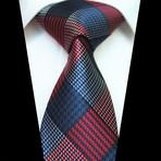 Silk Neck Tie + Gift Box // Red + Blue + Black Check