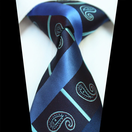 Silk Neck Tie // Blue Paisley Check