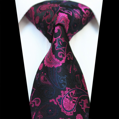 Silk Neck Tie // Black + Pink Paisley