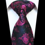 Silk Neck Tie // Black + Pink Paisley