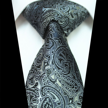 Silk Neck Tie // Black Paisley
