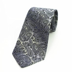 Silk Neck Tie + Gift Box // Black Paisley