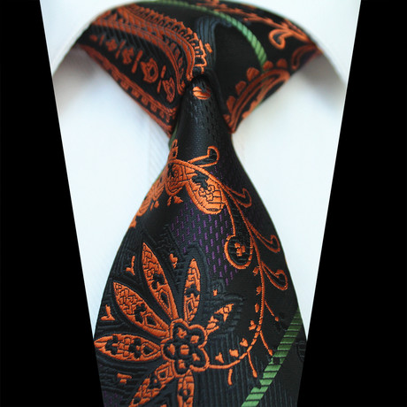 Silk Neck Tie // Black + Orange Paisley