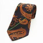 Silk Neck Tie + Gift Box // Black + Orange Paisley