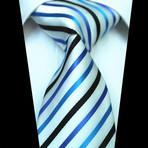 Silk Neck Tie // White + Multi Color Lines
