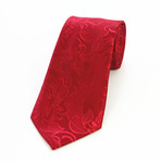 Silk Neck Tie + Gift Box // Solid Red Paisley
