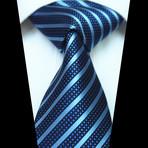 Silk Neck Tie + Gift Box // Striped Blue