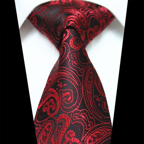 Silk Neck Tie // Red + Black Paisley