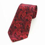 Silk Neck Tie // Red + Black Paisley