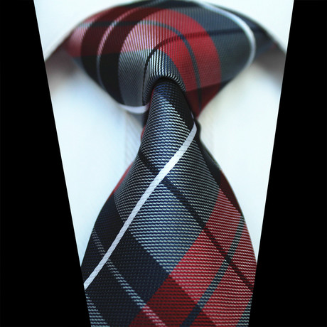 Silk Neck Tie // Red + Blue Check