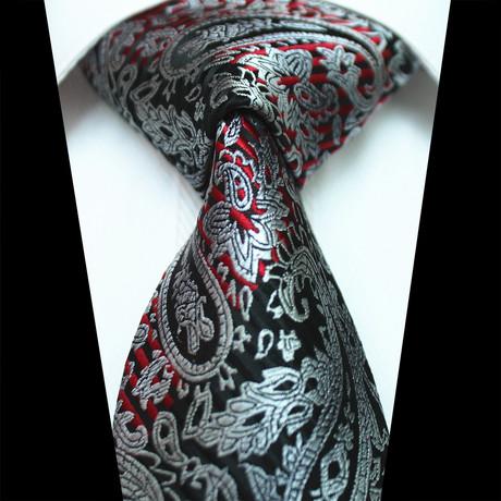 Silk Neck Tie // Black + Red Paisley