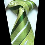 Silk Neck Tie + Gift Box // Green Paisley