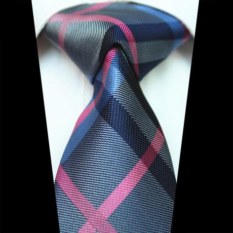 Silk Neck Tie // Blue + Pink Check