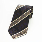 Silk Neck Tie + Gift Box // Black + Gold Paisley