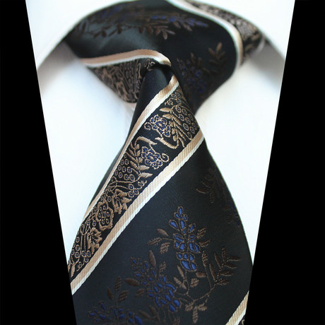 Silk Neck Tie // Black + Gold Paisley
