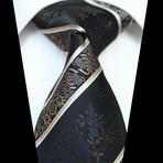 Silk Neck Tie + Gift Box // Black + Gold Paisley
