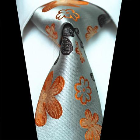 Silk Neck Tie // Gray+ Orange Floral