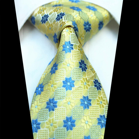 Silk Neck Tie // Yellow + Blue Floral
