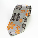 Silk Neck Tie // Gray+ Orange Floral