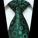 Silk Neck Tie // Green Circles