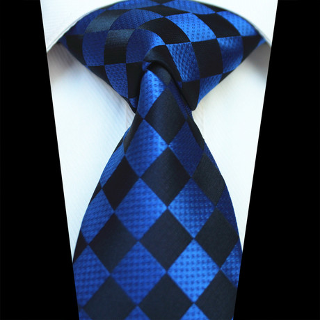 Silk Neck Tie + Gift Box // Black + Blue Checkers