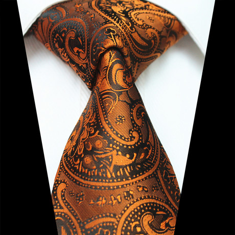 Silk Neck Tie // Metallic Orange Paisley