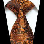 Silk Neck Tie // Metallic Orange Paisley