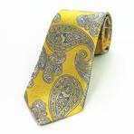 Silk Neck Tie // Yellow + Gray Paisley