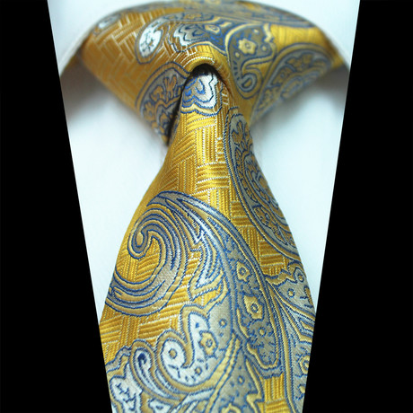 Silk Neck Tie // Yellow + Gray Paisley