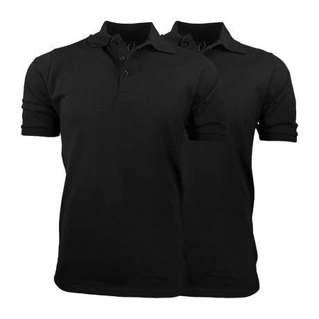 2-Pack Pique Polo // Black + Black (S)