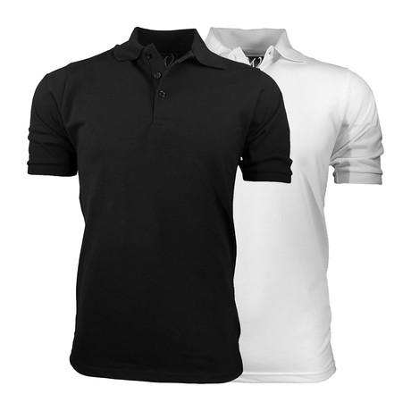 2-Pack Pique Polo // Black + White (S)