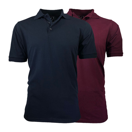 2-Pack Pique Polo // Navy + Burgundy (S)