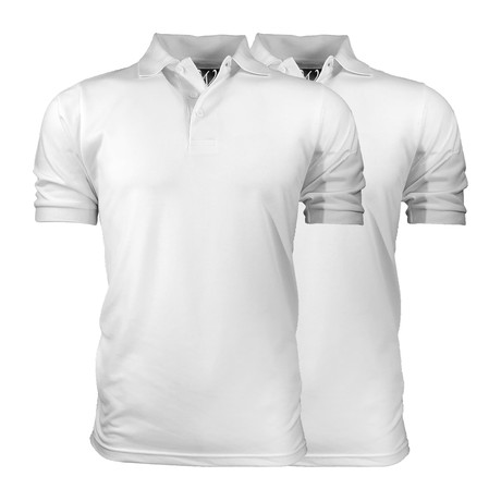 2-Pack Pique Polo // White + White (S)