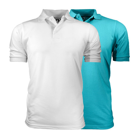 2-Pack Pique Polo // White + Aqua (S)