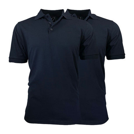 2-Pack Pique Polo // Navy + Navy (S)